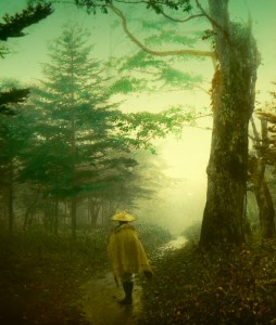 2389237724_b-pilgrim-on-a-forest-road-into-the-mist-of-old-japan-2